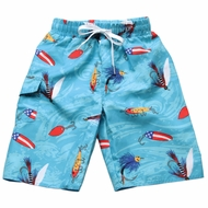 Wes & Willy Boys Blue Fishing Lures Swim Trunks