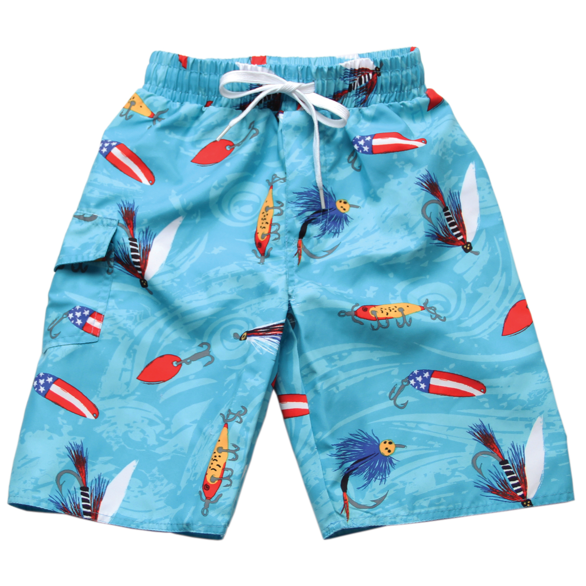 Wes Amp Willy Boys Blue Fishing Lures Swim Trunks