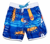 Wes & Willy Boys Blue Surfboards Surf Swim Trunks