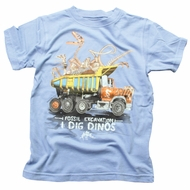 Wes & Willy Boys Dino Dinosaurs Dig on Sky Blue Shirt