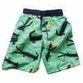 Wes & Willy Boys Green / Blue Hungry Alligators Print Swim Trunks