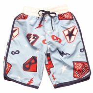 Wes & Willy Boys Light Blue / Red / Navy Blue Super Heroes Swim Trunks