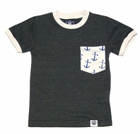 Wes & Willy Boys Metal Blue / Gray Tee Shirt - Anchor Pocket