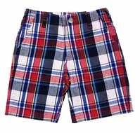 Wes & Willy Boys Navy Blue / Red Patriotic Plaid Poplin Shorts