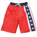 Wes & Willy Boys Red / Blue / White Stars Patriotic Swim Trunks