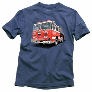 Wes & Willy Boys True Navy Blue Shirt with Big Red Firetruck