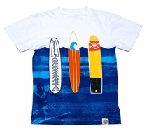 Wes & Willy Boys White / Blue Trio of Surf Boards Tee Shirt