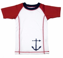 Wes & Willy Boys White / Red Rash Guard Shirt with Anchor