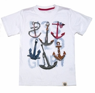 Wes & Willy Boys White Tee Shirt with Anchors