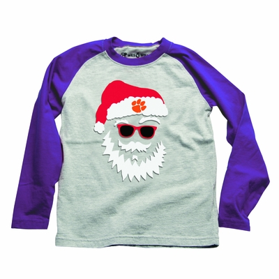 Wes & Willy Clemson Santa Shirt - Gray with Purple Sleeves