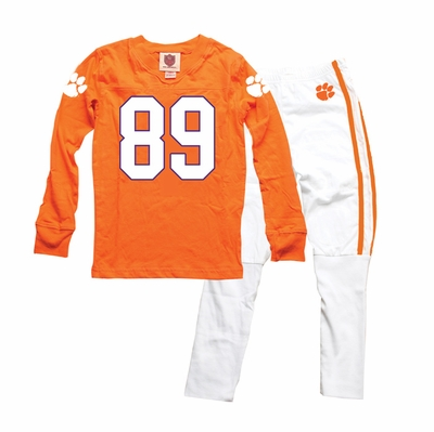 Wes Amp Willy Collegiate Boys Orange Football Jersey Pajamas