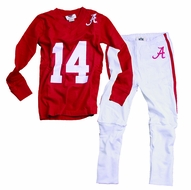 Wes & Willy Collegiate Boys Red Football Pajamas - Alabama Crimson Tide