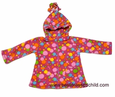 Widgeon Girls Raspberry Pink Bright and Colorful Bunches of Dots Fleece Coat - Tassled Hood