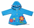 Widgeon Girls Turquoise Blue Hooded Fleece Coat with Applique Flowers