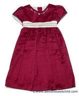 Will'Beth Girls Red Silk Christmas Dress with Ivory Embroidery and Sash