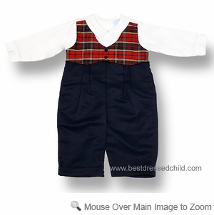 Will'Beth Infant Baby Boys Dressy Navy Blue / Red Plaid Vested Romper Suit
