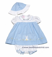 Will'Beth Infant Baby Girls Blue Gingham Easter Bunny Dress with Bloomers and Hat