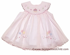 Will'Beth Infant Baby Girls Sweet 1st Birthday Dress - Platter Collar & Shadow Stitch Cupcake Embroidery - Pink