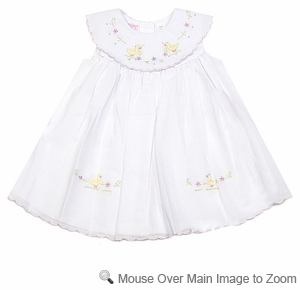 Will'Beth Infant Baby Girls Sweet White Easter Dress with Platter Collar and Duck Embroidery