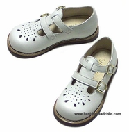 Willits Girls Classic White Leather English Sandals