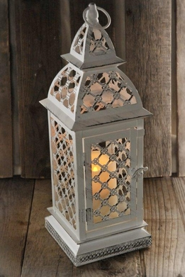 "White Battery Operated Flickering Candle Lantern 17"" w/Remote"