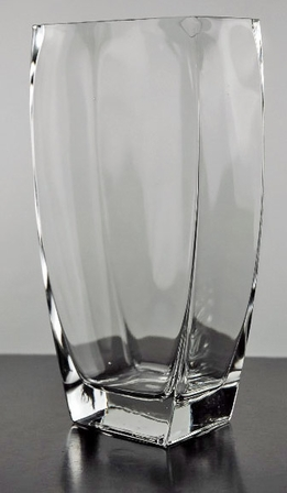 Tapered Rectangle Glass Vase 10in