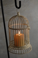 "12"" Antique White Metal Birdcage Candle Holder"