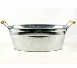 "13"" Galvanized Oval Tub with Wood Handles"