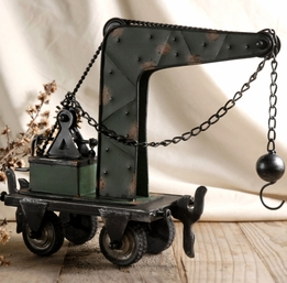 "13"" Metal Table Top Crane with Pulley & Wrecking Ball"