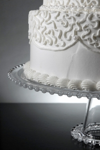 Beaded Edge Glass Cake Stand on Pedestal 13in