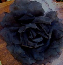Couture Millinery Black Rose Chiffon, Velvet & Organdy 15in