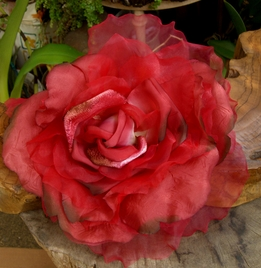 "15"" Couture Millinery Red Rose"