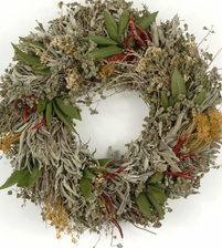 "15"" Natural Kitchen Herb Chile Wreath (organic- air dried)"