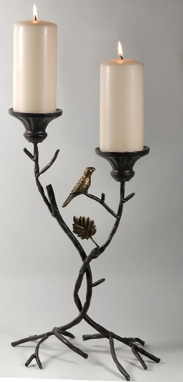 "17"" Metal Branch Pillar Candle Holder"