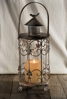 Rustic Metal Candle Lantern with Glass Insert 17in