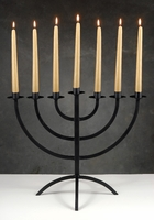 "22"" Handmade Iron Menorah Candleholder & candles"