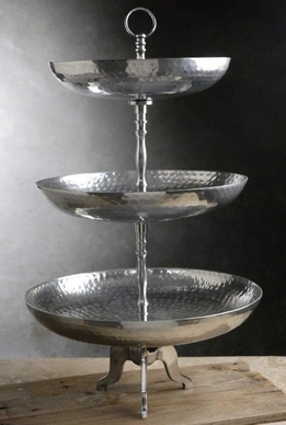 Hammered Silver 3-Tier Dessert Tray 24in