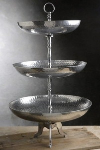 3-Tier Hammered Silver Dessert Tray 24in