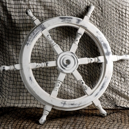 "24"" White Washed Wood Ships Wheel"