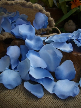 250 Blue Silk Rose Petals