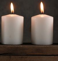 White Candles with Cotton Wick 3in | Pack of 4