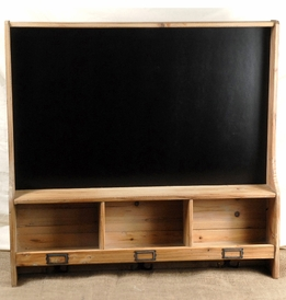 "30"" Chalkboard Cubby Shelf with 3 Hooks"
