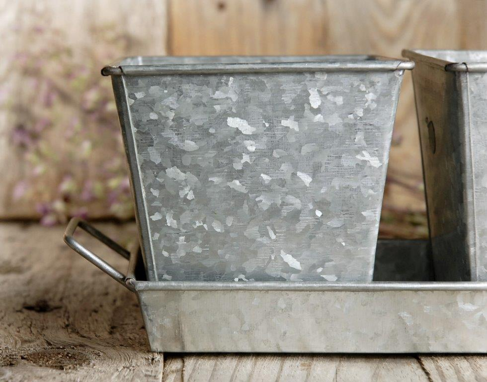 Galvanized 3 Herb Pots & Tray