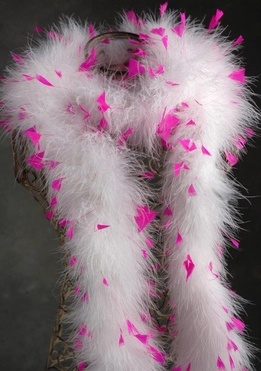 Hot Pink Coque Feather on a White Marabou Boa 30gram