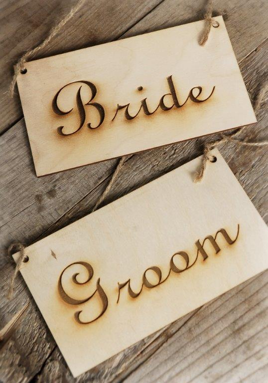 """Bride"" and ""Groom"" Wood Signs"