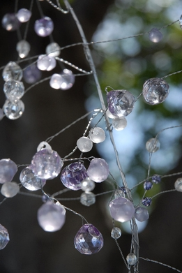 "42"" Crystal Wired Garland Purple clear & frosted beads"