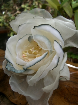 "5"" White Silk & Organdy Rose with Silver"