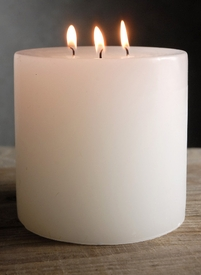 5x5 White Pillar Candles 3 Wick Unscented Cotton Wicks