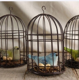 "6"" Birdcages with bird & egg (assorted-Set of 3)"