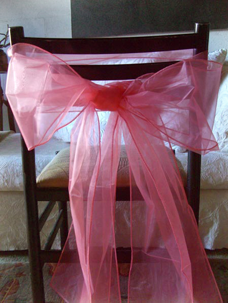 Coral Pink Organza Chair Sashes 8in x 3yds 10pc